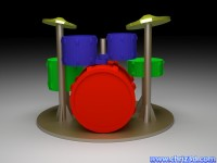 thumb image of Model of a drum set
